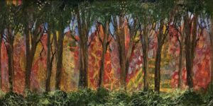 Fairy Wood, Collage by Sally Rhone-Kubarek, 12in x 24in, $450 (September 2021)