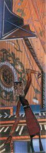 Happy Harpsichord, Mixed Media Collage by Teresa Blatt, 10in x 3in, $170 (September 2021)
