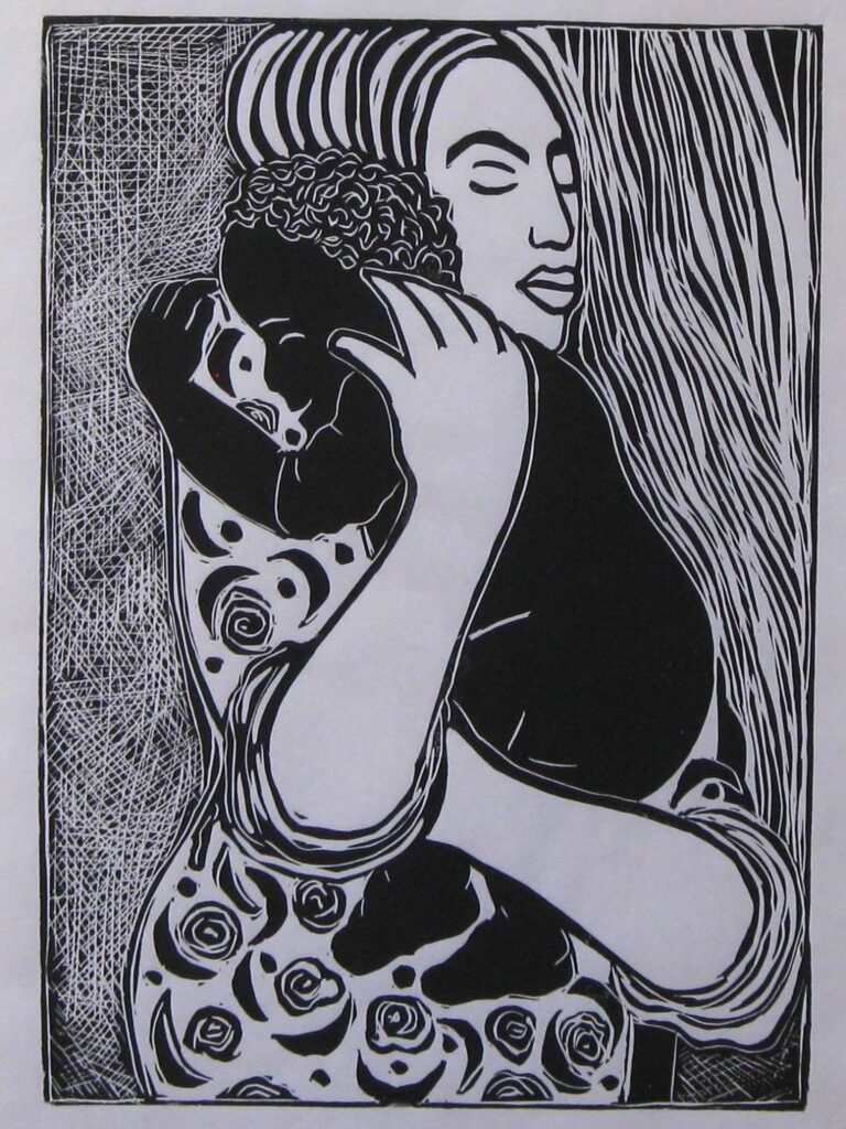 FIRST PLACE: Little Rascal Gets a Hug, Lino Cut by Linda Rose Larochelle, 24in x 18in, $398 (September 2021)