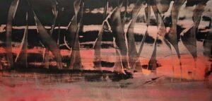 Regatta, Acrylic by Barbara Taylor Hall, 10in x 21in, $300 (September 2021)