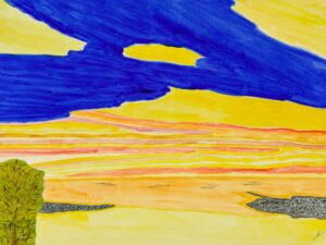 Sunset at Ke'e Beach, Kaua' l, Watercolor by Bro Halff, 12in x 16in, $900 (September 2021)