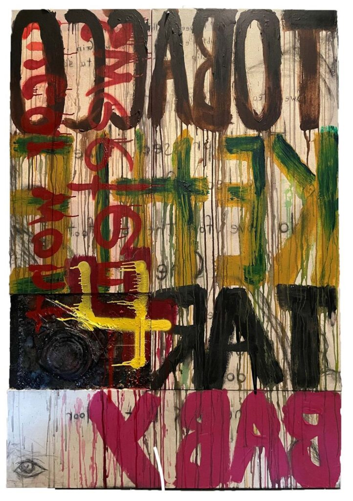 HONORABLE MENTION: TK4TB, Mixed Media by Robert Luther, 61in x 43in, $800 (September 2021)
