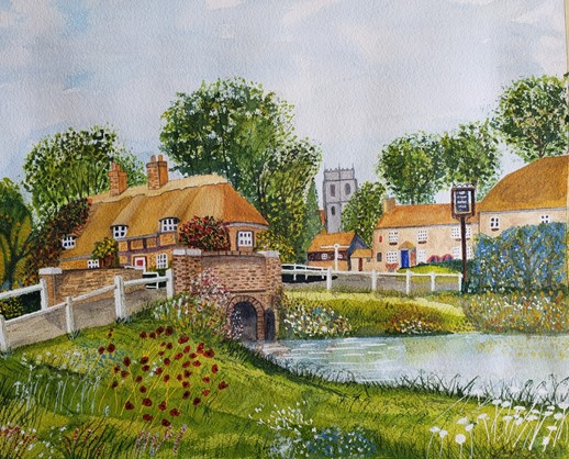 English Country Village, watercolor by Terry Maple (MG: September 2021)
