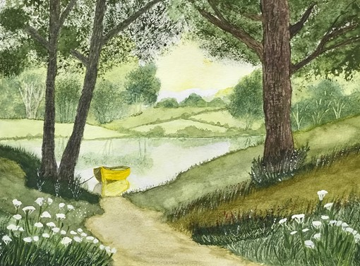 Peace at the Lake, watercolor by Terry Maple (MG: September 2021)