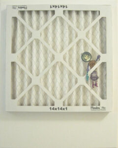 Air Filter Reverse Side with a Placed Pin Figure #2, Assemblage by John Nichols, 20in x 16in, NFS (October 2021)