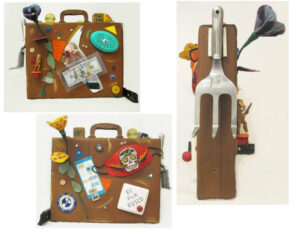 Bull Winkle Decorated Attaché Case, Assemblage by John Nichols, 17in x 22in x 15in, $500 (October 2021)