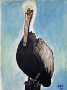 Shy and Single, gouache by Joan Stanton (September 2021 CBTC)