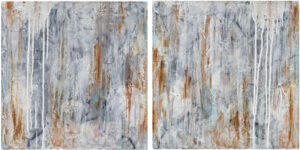 Searching for Silence, Acrylic and Mixed Media 2 Panel Diptych by Bob Worthy, 16in x 32in, $500 (October 2021)