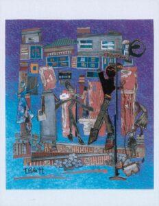 Downtown, mixed media collage by Teresa Blatt (September 2021 CBTC)