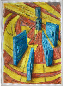 Tethered Panels I, Acrylic by David Lovegrove, 15in x 11in, $200s (October 2021)
