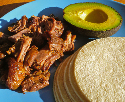 Shredded Oxtail Meat, Corn Tortillas and Avocado