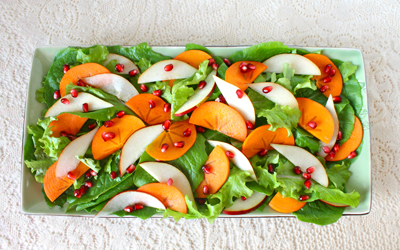 Organic Persimmon, Red Bartlett Pear and Pomegranate Salad
