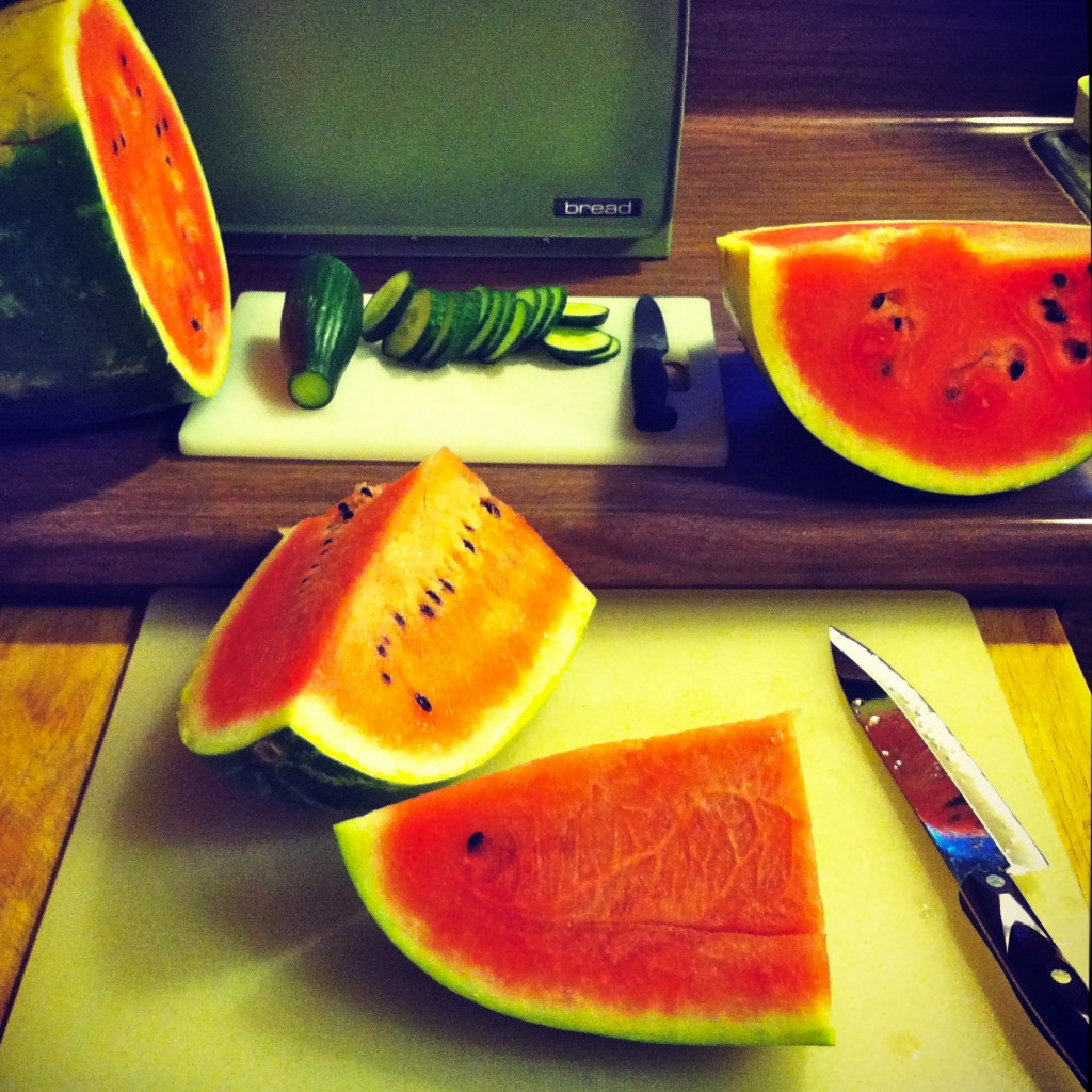 Slicing Watermelon and Cucumbers | Black Girl Chef's Whites