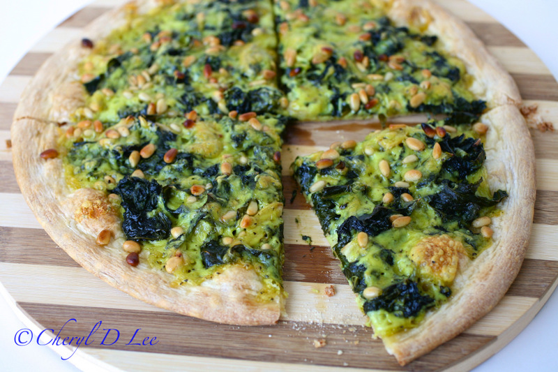 Power Greens Pizza with Pinenuts | Black Girl Chef's Whites