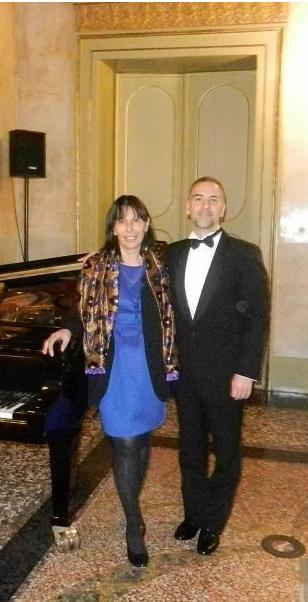 La professoressa Marina Agostinacchio con il maetrso Salvatore Margarone