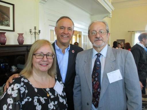 From the left: Nicoletta Mita Dossena, Queens College President Felix Matos Rodriguez and Tiziano Thomas Dossena
