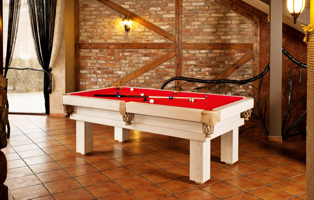 7' Artemis Rustic Log Hand made pool table by Vision Billiards white