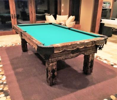 8' Artemis Rustic Log Hand made pool table by Vision Billiards