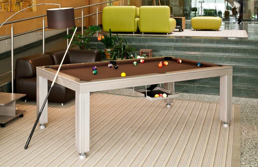 Convertible dining pool fusion table Vision silver by Vision Billiards
