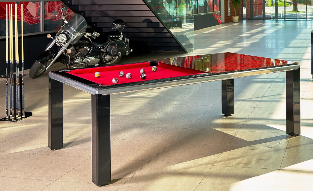 Convertible pool dining fusion table Ultra in black by Vision Billiards