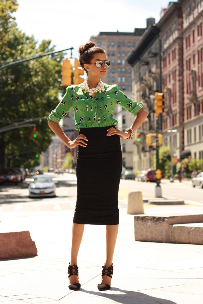 preppy-patterned-blouse-and-pencil-skirt-2