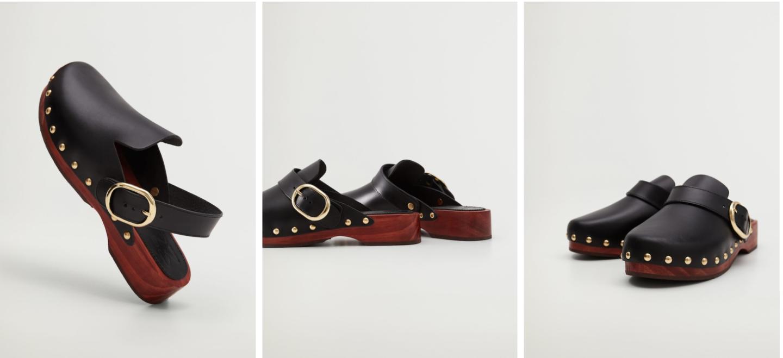 MANGO Studded Leather clogs
