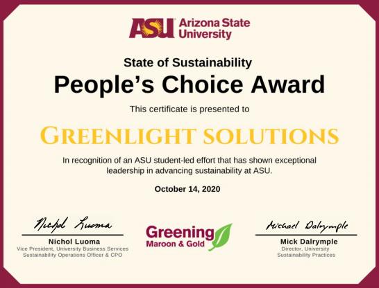 GreenLight Wins People's Choice Award