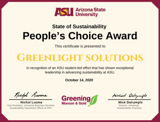 GreenLight Wins People's Choice Award
