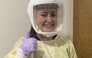 Bailey Peckham, a puller/scorer at Lee Kay Shotgun Center, is also a nursing student at the University of Utah and a certified nurse's assistant at the university's hospital. Having worked with COVID patients since the pandemic began, she spends most of her work time wearing PPE (Personal Protective Equipment).