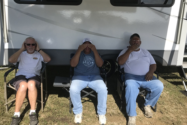 Squadmates Steve Williamson, Charlie Bickle and Charlie Long hear no evil, see no evil and speak no evil. Among the three of them, they have fired at nearly 2.5 million targets in ATA competition