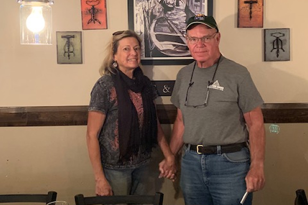 While attending the Western Grand in Vernal, UT, Karen and John Bergman visited a local restaurant which displays a print of one of Karen's paintings on its wall.