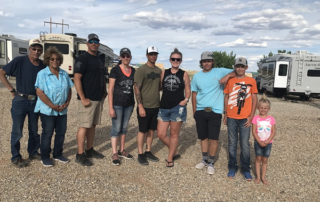 The Carter family enjoys spending time at trapshoots together: Clair and Barbara, their son Shawn and his wife Mellisa, son Chance and his wife Riley, and their grandchildren Bradyn, Easton and Aria.