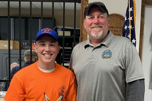 Junior Josh Summitt was presented his first-ever Indiana zone trophy by Jason Barnett.