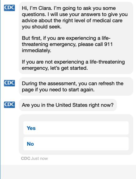 CDC Coronavirus self checker chat bot