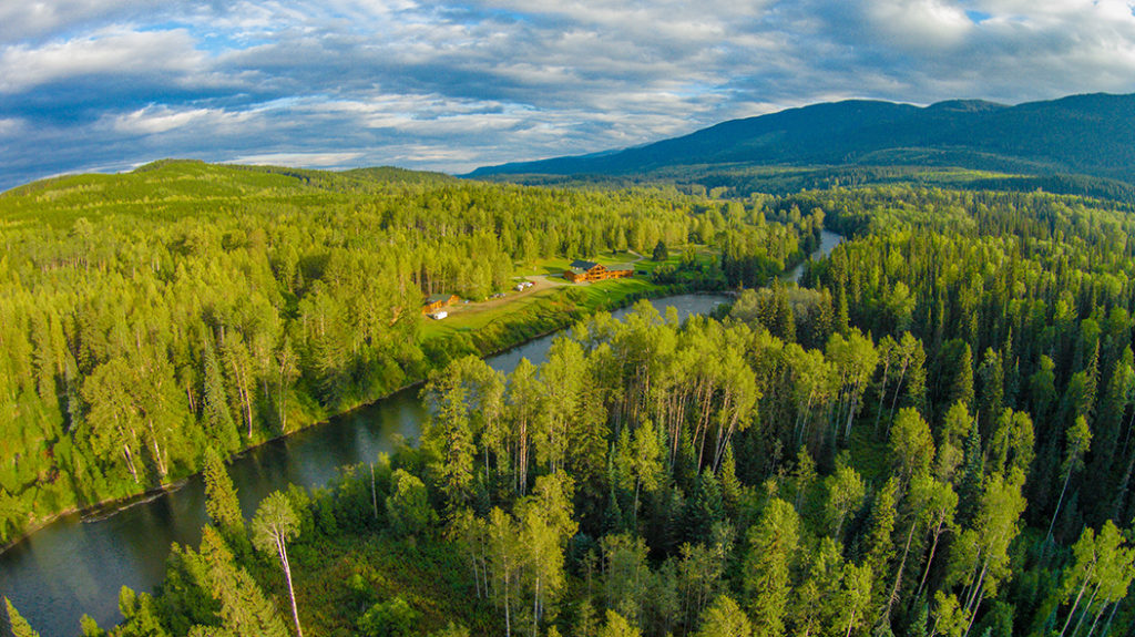 Aerial view of Bear Claw Lodge in British Columbia
