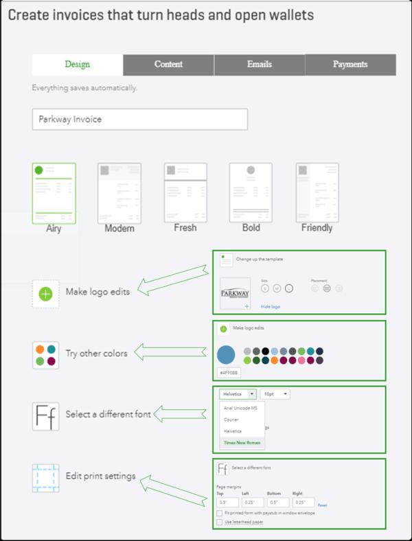 QuickBooks Online Invoice Design Setting Options