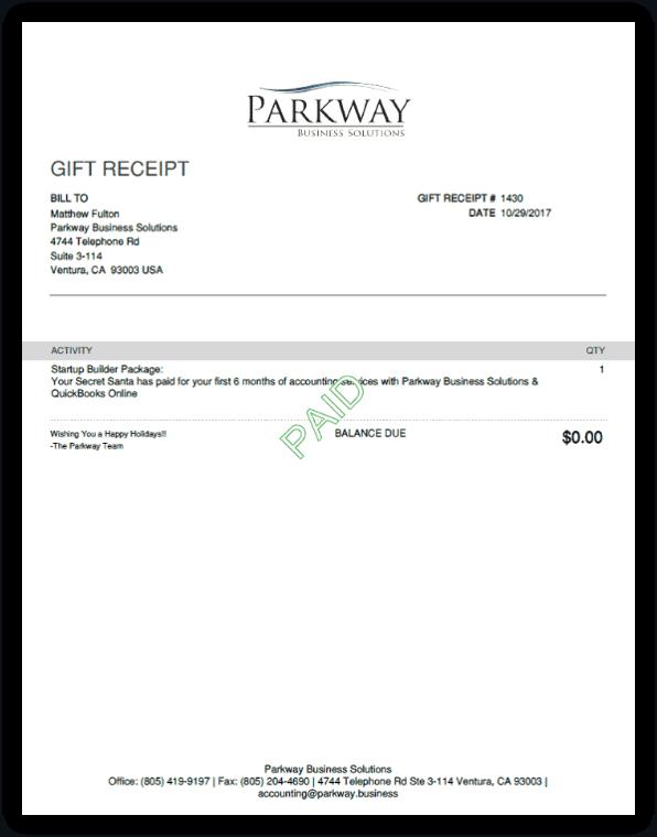 QuickBooks Online Gift Receipt Template