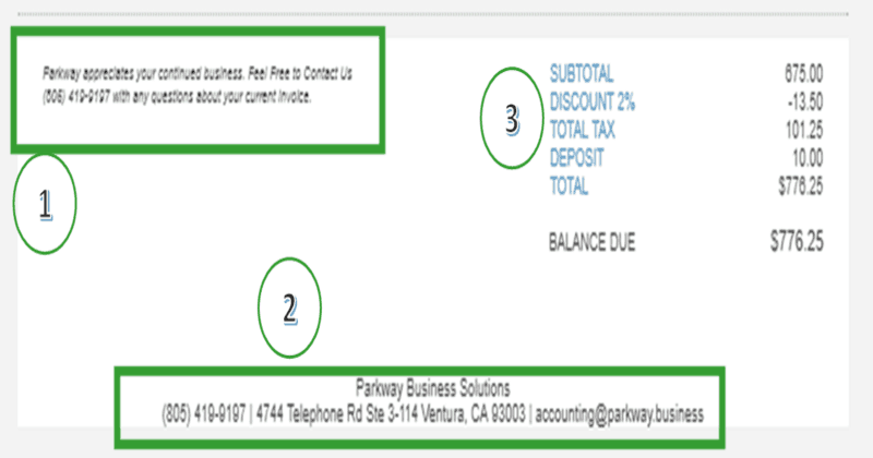 QuickBooks Online Invoice Footer