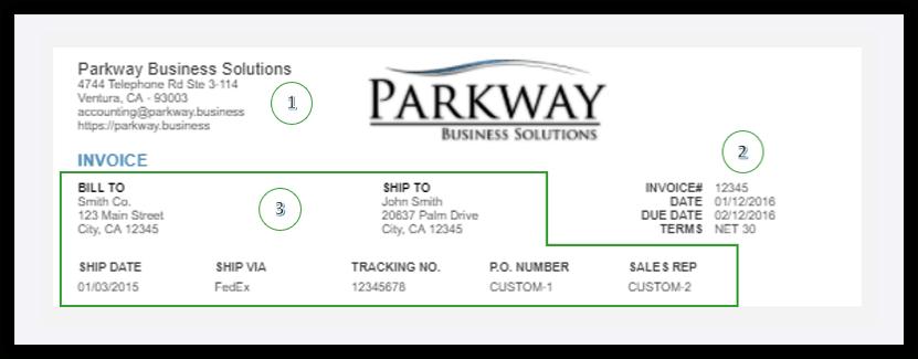 QuickBooks Online Invoice Header