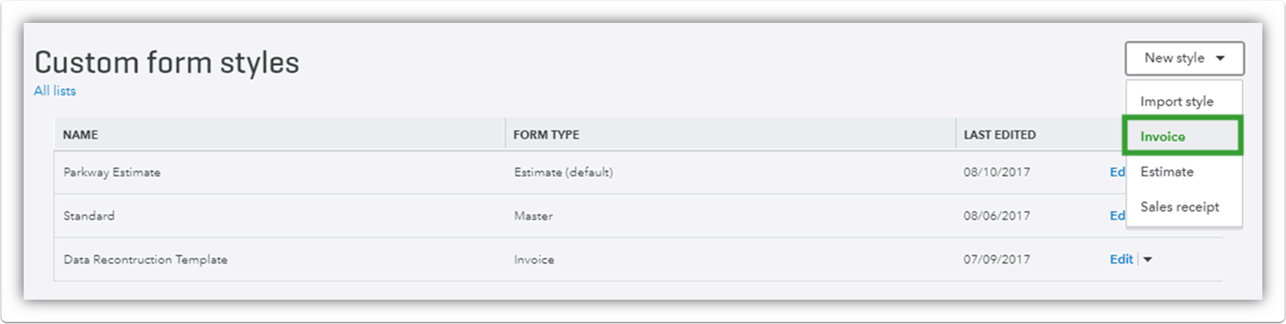 Choose from the drop down to create your QuickBooks Online Invoice