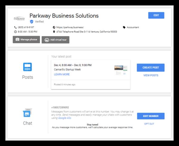 Google My Business main dashboard