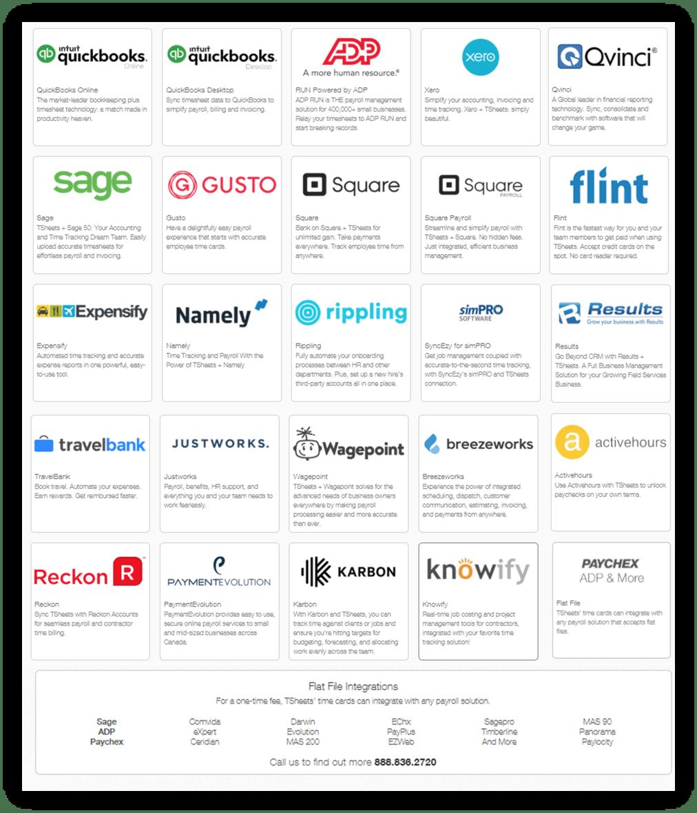 TSheets Integration List