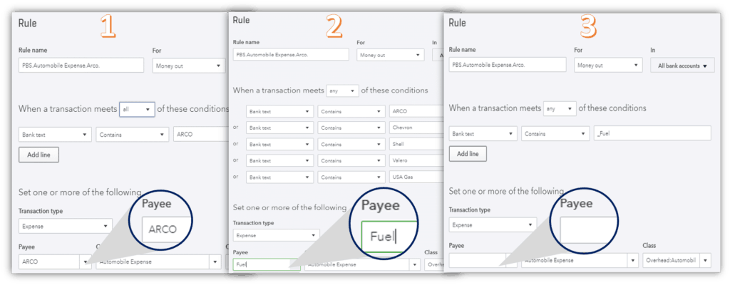 QuickBooks Online Bank Feed Options to Set a Payee