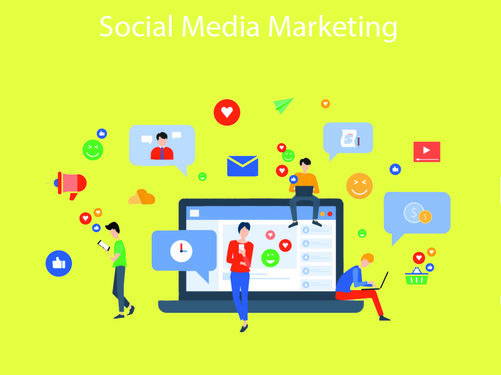 Design of Social Media and Online Marketing with colorful Social media emojis and business people character with mobile concept