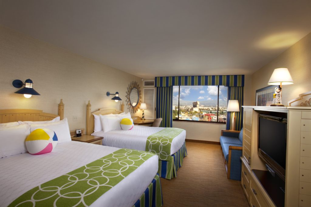 Room layout with two double beds at Disney's Paradise Pier Hotel- Disneyland Resort Hotel
