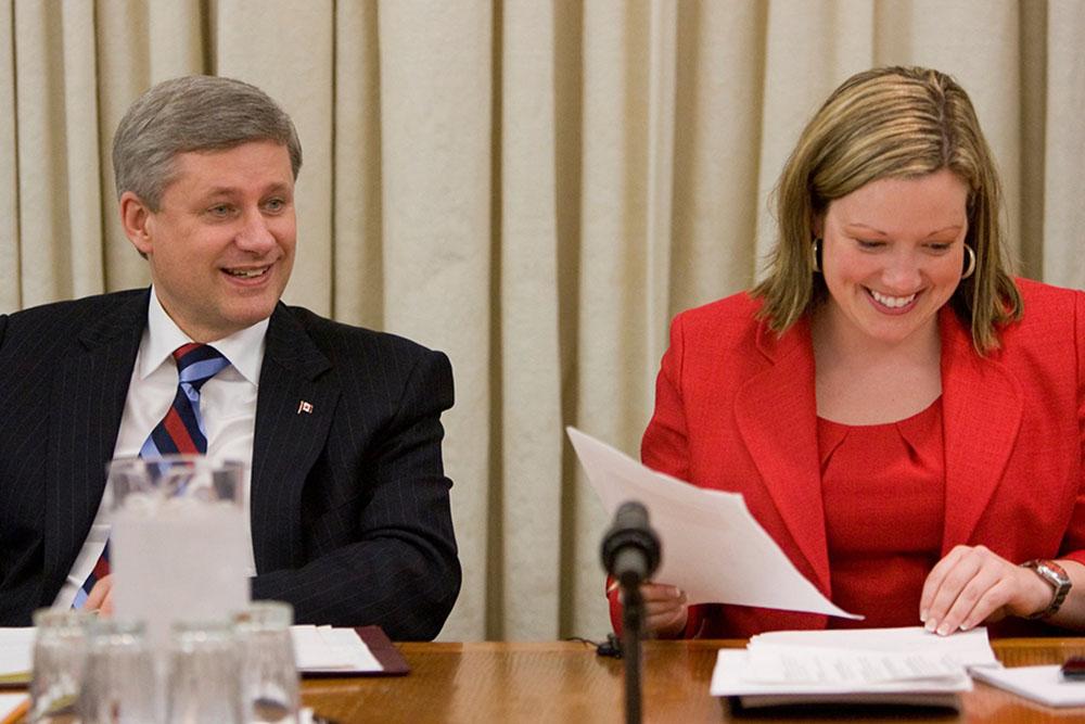 Jenni Byrne and Prime Minister Stephen Harper