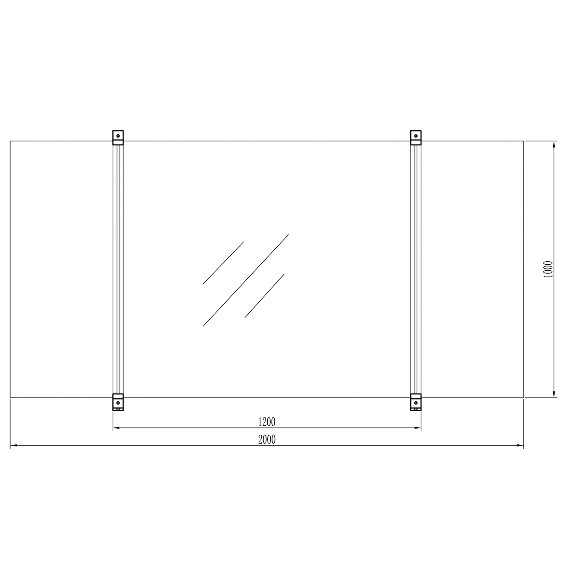 frame for flat plate collector diagram front view