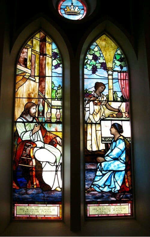 Thompson Glass Company stained glass Tiffany Signed window repair and restoration