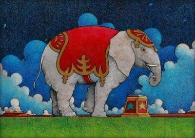 Elephant - color pencil on wood drawing