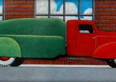 Wyandotte Truck - color pencil on wood drawing